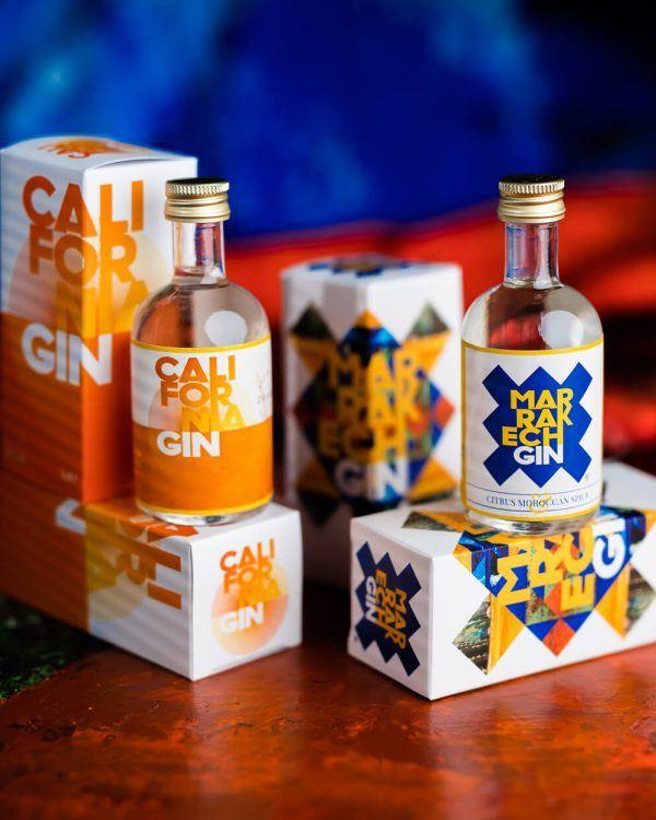 4 miniature gin bottles